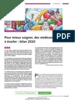 Liste 2020 des médicaments à écarter pour mieux soigner de la revue Prescrire