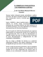 Testimonio caso Crissthian Olivera Fuentes para Tribunal Simbólico LGBTIQ 2019