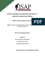 """""""Evaluación de los Ejes Rectores de la Cuenta Pública 2013 del Estado de Sonora""""."""