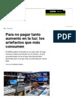Para No Pagar Tanto Aumento en La Luz_ Los Artefactos Que Más Consumen - TN.com.Ar
