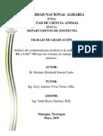 Análisis del comportamiento productivo de pollos de engorde RR y Cobb® 500 bajo dos sistemas de manejo estabulado y pastoreo.