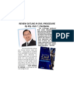 Review Outline in Civil Procedure by Atty. Alvin T. Claridades with Foreword written by Dean Marisol Anenias