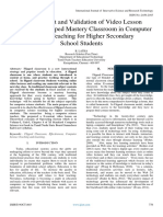 Development and Validation of Video Lesson Package for Flipped Mastery Classroom in Computer  Science Teaching for Higher Secondary  School Students