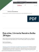 Em Crise, Livraria Saraiva Fecha 20 Lojas