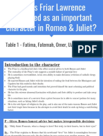 How is Friar Lawrence Presented as an Important Character in Romeo & Juliet