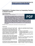 Assessment of Feedback Given by Cooperating Teachers to Student-Teachers