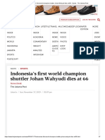 Indonesia's First World Champion Shuttler Johan Wahyudi Dies at 66 - Sports - The Jakarta Post