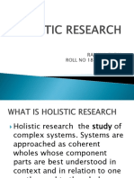 Holistic Research in Synops