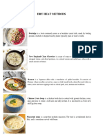 Different kinds of menus using dry and moist heat cooking.