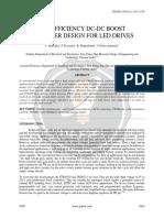 High Efficiency DC-DC Boost Converter Design for LED Drives