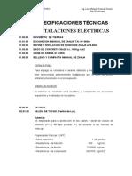 Especificaciones Técnicas Instalaciones Electricas 1ra Etapa