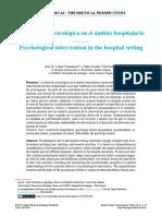Intervención psicológica en el ámbito hospitalario