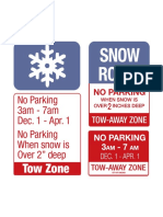 Winter Parking Restriction Signs