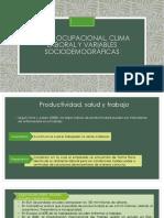 salud ocupacional, clima laboral y variables sociodemograficas