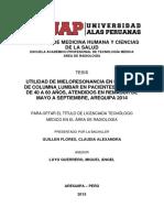 UTILIDAD DE MIELORESONANCIA EN LESIONES DE COLUMNA LUMBAR EN PACIENTES ADULTOS DE 40 A 60 AÑOS, ATENDIDOS EN REMASUR DE MAYO A SEPTIEMBRE, AREQUIPA 2014