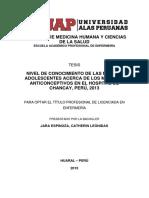 NIVEL DE CONOCIMIENTO DE LAS MADRES ADOLESCENTES ACERCA DE LOS MÉTODOS ANTICONCEPTIVOS EN EL HOSPITAL DE CHANCAY, PERÚ, 2013