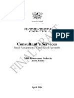 Standard and Sample Contract for Consulting Services, Small Assignments Time-Based Payments Draft