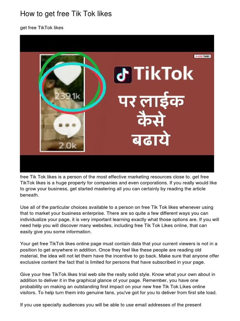 How To Get Free Tik Tok Likes Pdf Online Advertising World Wide Web