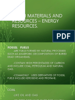 Earth Materials and Resources – Energy Resources