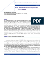 Critical Assessment of Performance of Mergers and Acquisitions