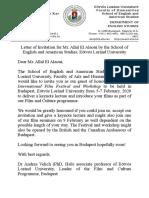 Letter of Invitation for Mr Allal El Alaoui