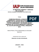 COMPARACIÓN DE LA RESISTENCIA COMPRESIVA, ENTRE RESTAURACIONES INDIRECTAS DE RESINA MICRO HÍBRIDAS DE FOTOPOLIMERIZADO Y DE RESINA MICRO HÍBRIDAS DE FOTOPOLIMERIZADO SOMETIDAS AL CALOR (ESTUDIO IN VITRO). AREQUIPA, 2014