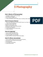 Still Photography BJMC notes