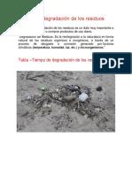 Tiempo de Degradación de Los Residuos