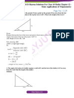 RD Sharma Solutions for Class 10 Chapter 12 Some Applications of Trigonometry