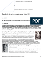 Condición de Género Mujer Siglo XIX Venezuela _ Palabra de Mujer