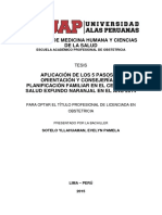APLICACIÓN DE LOS 5 PASOS DE ORIENTACIÓN Y CONSEJERÍA EN PLANIFICACIÓN FAMILIAR EN EL CENTRO DE SALUD EXFUNDO NARANJAL EN EL AÑO 2014