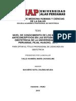 NIVEL DE CONOCIMIENTO DE LOS MÉTODOS ANTICONCEPTIVOS EN LAS ESTUDIANTES DE OBSTETRICIA DE LA UNIVERSIDAD ALAS PERUANAS, FILIAL HUACHO, 2014