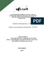 RELATÓRIO  - VOLUMETRIA DE COMPLEXAÇÃO POR EDTA - DETERMINAÇÃO DE ÍONS DE CÁ