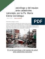 El Rol Del Psicólogo y Del Equipo de Salud Ante Catástrofes Naturales