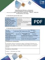Guía de Actividades y Rúbrica de Evaluación - Tarea 2 - Solución de Decisiones Con Riesgo
