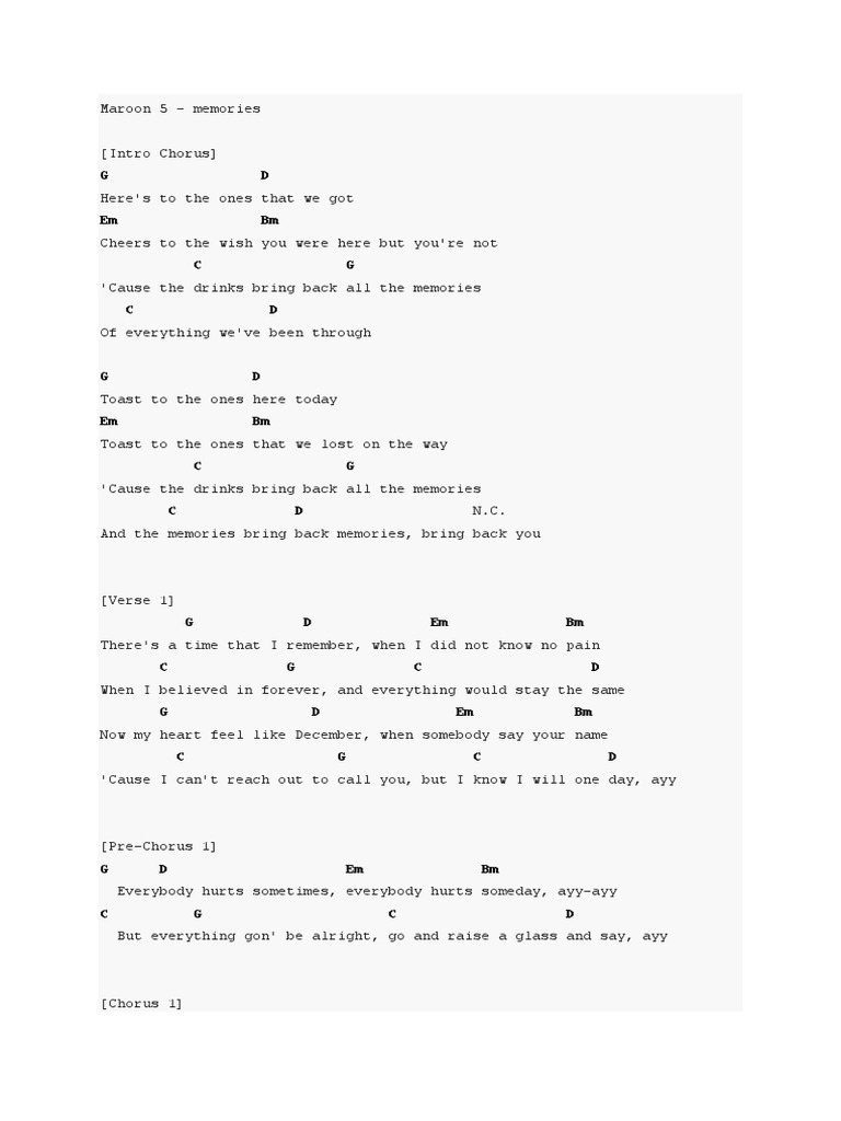 Maroon 5 Memories Guitar Chord Song Structure Popular Music
