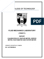 Fluid Mechanics Calibration Report
