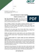 Acer Tablet Press Release