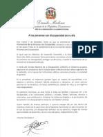 Mensaje del presidente Danilo Medina con motivo del Día Nacional e Internacional de las Personas con Discapacidad