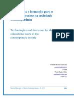 Tecnologias e formação para o trabalho docente na sociedade contemporânea