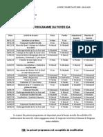Programme Foyer JDA