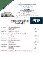 12. Schedule of Divine Services - December, 2019
