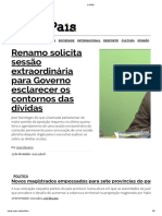 Renamo Solicita Sessão Extraordinária Para Governo Esclarecer Os Contornos Das Dívidas