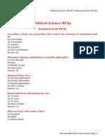 Political Science MCQs _ (Immanuel Kant MCQs)