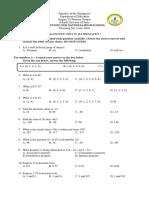 Math 7 Diagnostic Test