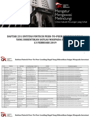 Daftar 231 Fintech P2p Lending I 1 Banking Financial Markets Free 30 Day Trial Scribd