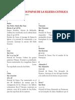 Listado de Los Papas de La Iglesia Catolica