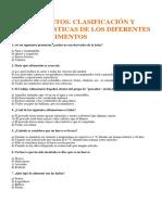 TEST DE LOS ALIMENTOS,CLASIFICACIÓN Y CARACTERÍSTICAS