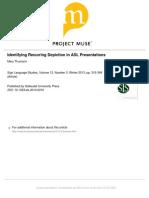 Identifying Recurring Depiction in ASL