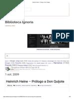Heine, H., Prólogo a D. Quijote